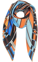 Emilio Pucci Orange and Blue Vortici Print Silk Scarf