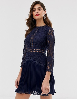 ASOS DESIGN lace mini dress with trim inserts and pleated skirt