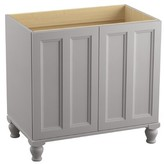 """Kohler Damask 36"""" Vanity Base Only with Furniture Legs and 2 Doors Finish: Mohair Grey"""