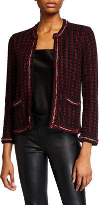 Alice + Olivia Georgia Short Embellished Sweater Jacket