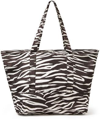 Ganni Fairmont Zebra-print Shell Tote