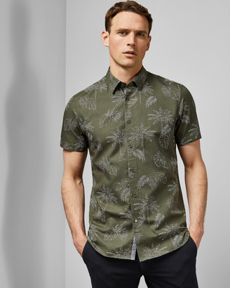 Ted Baker LUSHH Palm print cotton shirt