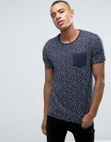 Esprit Slim Fit T-Shirt with Contrast Pocket in Ditsy Print