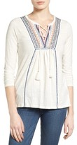 Lucky Brand Women's Lace-Up Embroidered Top