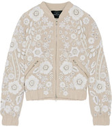 Needle & Thread Snowdrop Embellished Embroidered Georgette Bomber Jacket - Beige