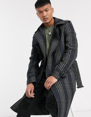 Asos Design DESIGN double breasted trench coat in navy check