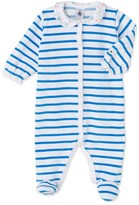 Petit Bateau Baby girls striped velour sleepsuit