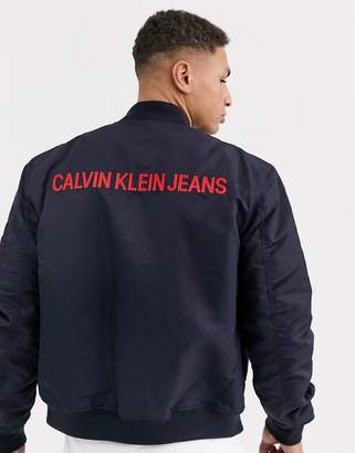 Calvin Klein Jeans Calvin Klein back embroidered bomber jacket-Blue