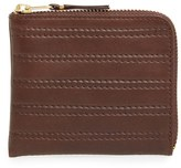 Comme des Garcons Men's 'Embossed Stitch' Leather Half Zip French Wallet - Brown