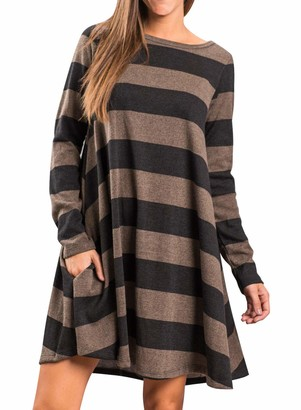FUTURINO Women's Long Sleeve Loose Wide Striped Casual T-Shirt Dress