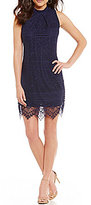 I.N. San Francisco Eyelash Lace Mock Neck Sheath Dress