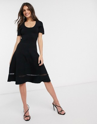French Connection voletta crepe knitted sleeve dress-Black