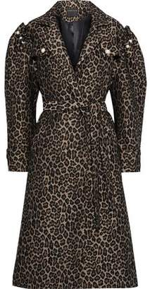 Mother of Pearl Felix Faux Pearl-embellished Leopard-jacquard Coat