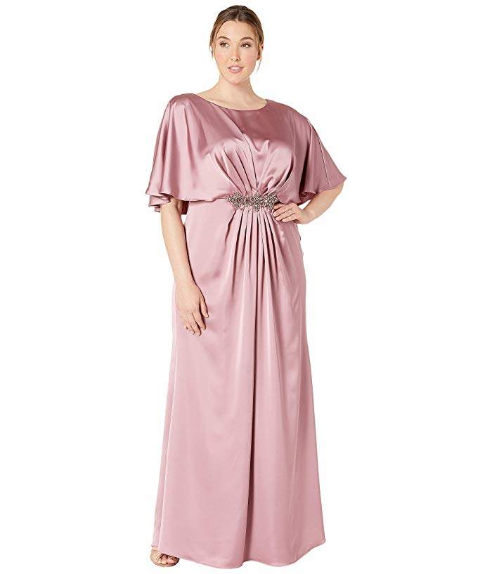 Plus Size Capelet Stretch Satin Gown with Beaded Trim