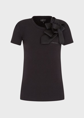 Emporio Armani Stretch Jersey T-Shirt With Oversized Bow