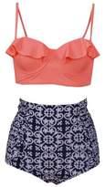YACUN Women's Vintage High Waisted Bikini Sets Push Up Swimwear M