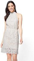 New York & Co. Lace-Overlay Halter Dress
