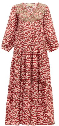 Muzungu Sisters - Frangipani Embroidered Mushroom Print Silk Dress - Womens - Red Multi