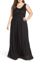 Adrianna Papell Plus Size Women's Beaded Bodice Chiffon Gown