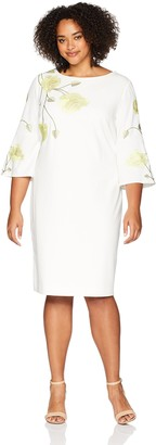 Tahari by Arthur S. Levine Women's Plus Size Embroidered Crepe Dress