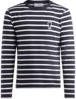 Ami Alexandre Mattiussi Ami Crew Neck Sweater With White And Blue Stripes
