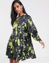Asos Design DESIGN trapeze mini dress in tie dye print