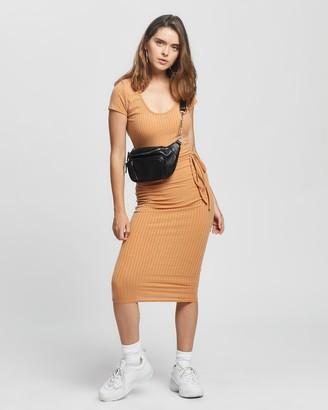 Missguided Petite - Women's Brown Midi Dresses - Petite SS Tie Belt Rib Midi Dress - Size 8 at The Iconic
