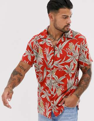 Jack and Jones revere collar palm print shirt short sleeve shirt in coral-Red