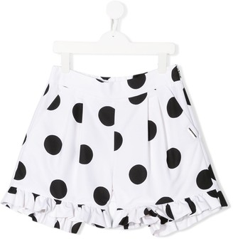Msgm Kids Ruffled Trim Polka Dot Shorts