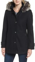 London Fog Women's Peacoat With Faux Fur Trim