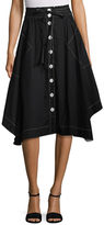 Tracy Reese Cotton Smocked Asymmetrical Skirt