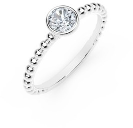 Forevermark Tribute Collection Round Diamond (1/10 ct. t.w.) Ring with Beaded Detail in 18k Yellow, White and Rose Gold