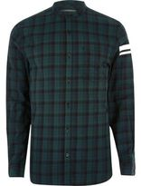 River Island Mens Green check print sleeve grandad shirt