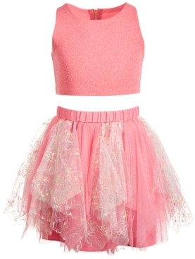Bonnie Jean Little Girls 2-Pc. Shimmer Top & Tutu Skirt Set