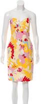 David Meister Strapless Floral Print Dress