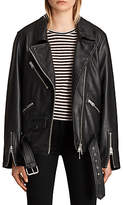 AllSaints Oversized Leather Biker Jacket, Black