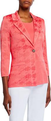 Misook Plus Size Textured One-Button Jacket