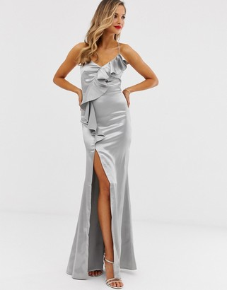 City Goddess satin ruffle slit front maxi dress-Silver