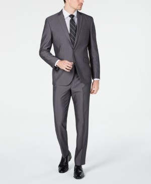 Kenneth Cole Unlisted Men's Slim-Fit Medium Gray Stripe Suit