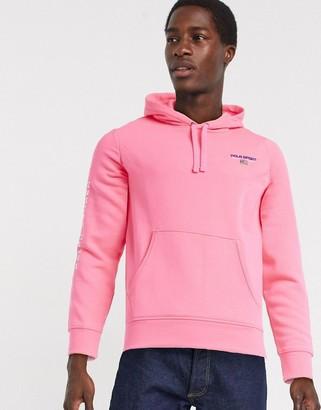 Polo Ralph Lauren flag sport and sleeve logo hoodie in neon pink