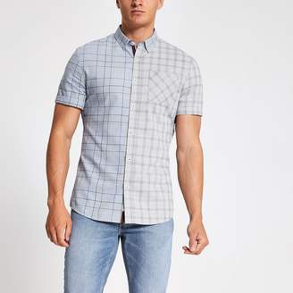 River Island Mens Grey check short sleeve slim fit shirt