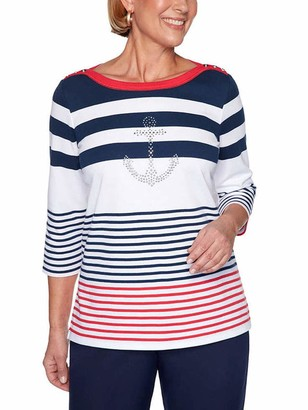 Alfred Dunner Women's Plus Size Anchor Striped Top