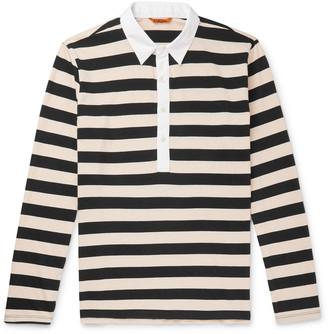 Barena Poplin-Trimmed Striped Cotton-Jersey Polo Shirt