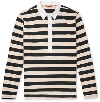 Barena Poplin-Trimmed Striped Cotton-Jersey Polo Shirt