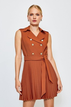 Karen Millen Military Pleated Skirt Dress