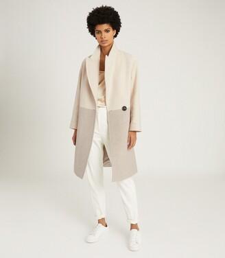 Reiss Vale - Colour Block Wool Blend Overcoat in Neutral