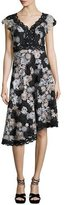 Nanette Lepore Cap-Sleeve Asymmetric Floral Lace Dress, Black/Silver