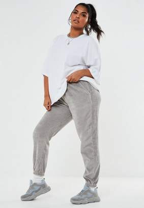 Missguided Plus Size Gray Oversized Velour Joggers