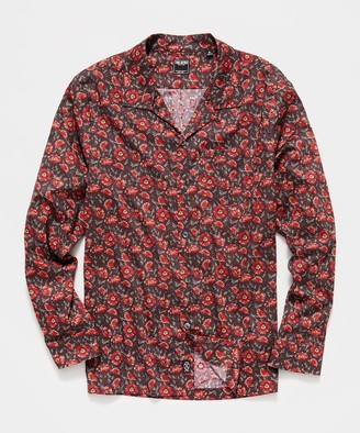Todd Snyder Liberty Camp Collar Long Sleeve Shirt in Brick Floral Print