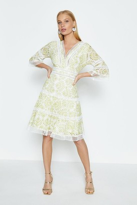 Coast Long Sleeve Lace Trim V Neck Dress